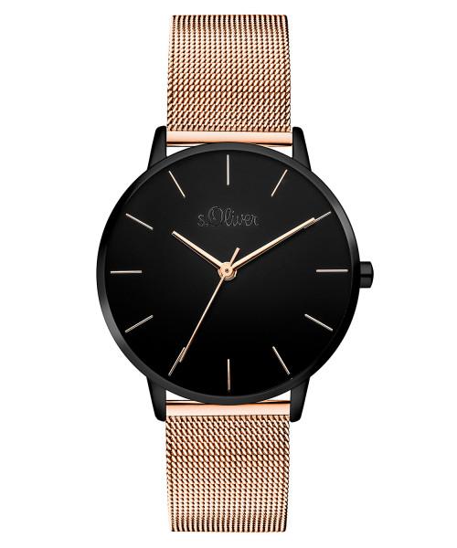 SO-3530-MQ s.Oliver Damen Edelstahl IP Black / Roségold Milanaise Armbanduhr