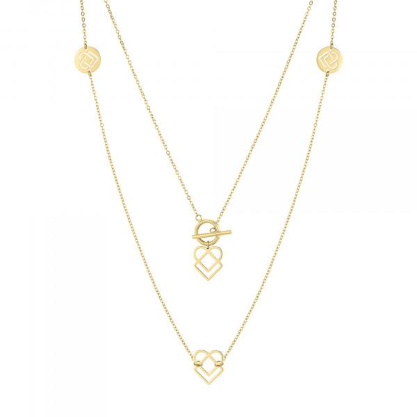 LJ-0771-N-100 LIEBESKIND BERLIN, Lange Halskette mit Charms, Edelstahl, IP Gold