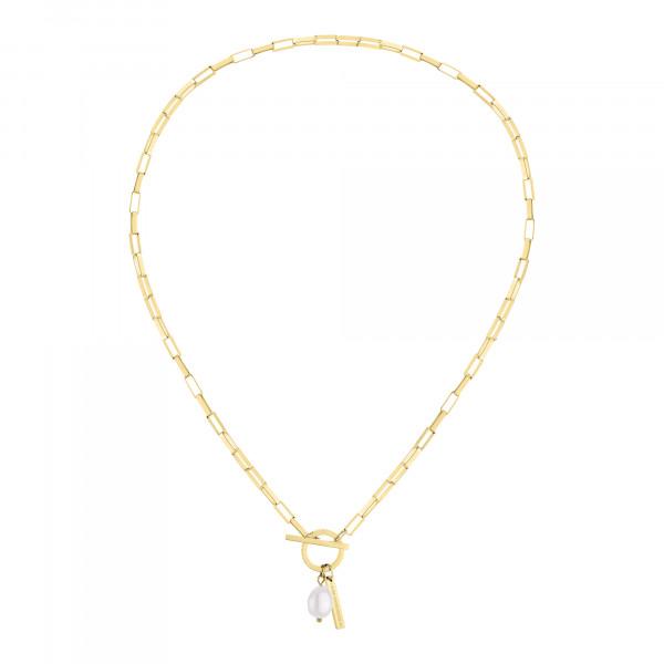 LJ-0800-N-40 LIEBESKIND BERLIN Halskette mit T-Bar Verschluss und Perle, Edelstahl, IP Gold