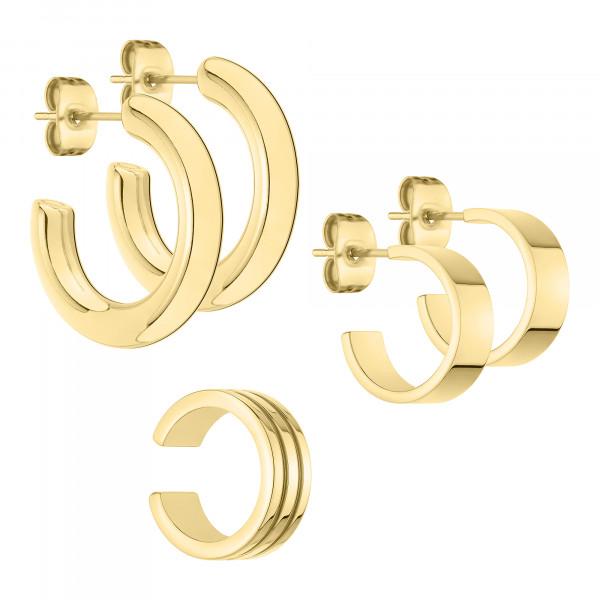 LS-0895-EEE-00 LIEBESKIND BERLIN Creolen Set in Edelstahl IP Gold