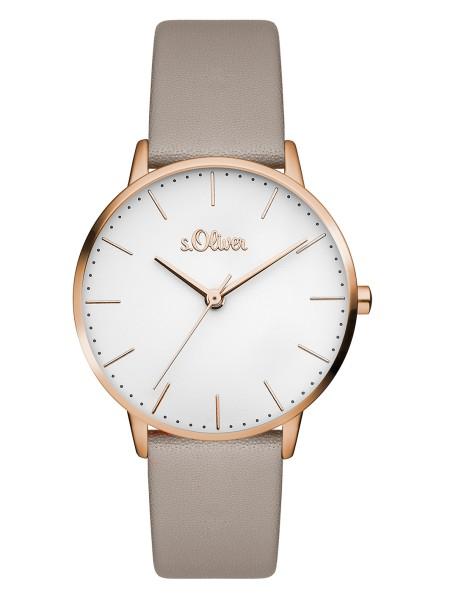SO-3441-LQ s.Oliver Damen Leder Edelstahl Armbanduhr