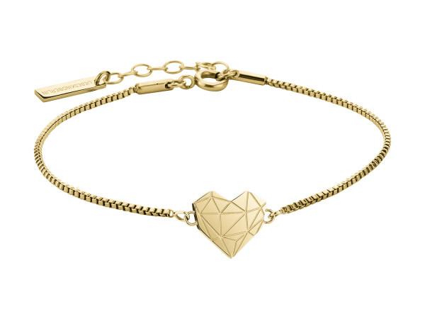 LJ-0329-B-17 LIEBESKIND BERLIN Heart Bracelet, Edelstahl, IP Gold 17 cm