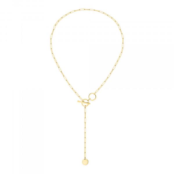 LJ-0797-N-49 LIEBESKIND BERLIN Halskette mit T-Bar Verschluss, Edelstahl, IP Gold