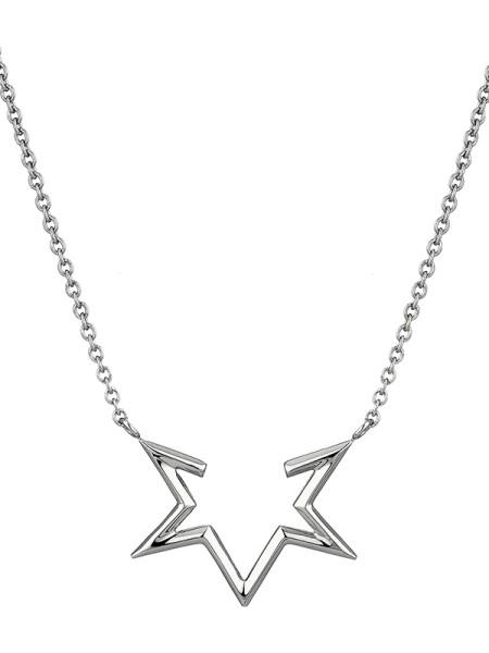 LJ-0123-N-45, Half-Star Kette, Edelstahl, 45cm