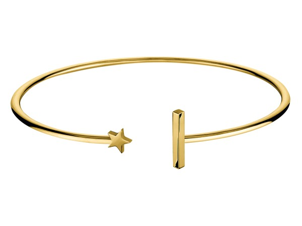 LJ-0138-B-58, Flexible Star´n Bar Bangle Edelstahl, 58mm Ø, IP Gold