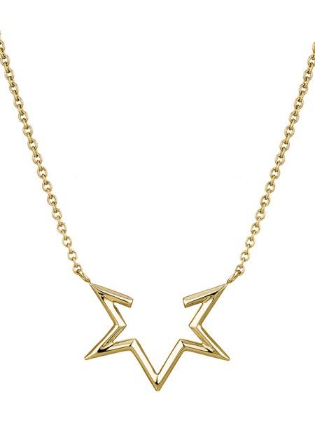 LJ-0124-N-45, Half-Star Kette Edelstahl, 45cm, IP Gold