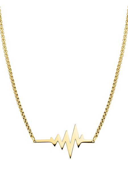 LJ-0153-N-45, Heartbeat Kette Edelstahl, 45cm, IP Gold