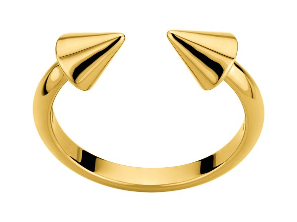 LJ-0110-R-54, Cone Ring, Edelstahl, Größe 54mm, IP Gold