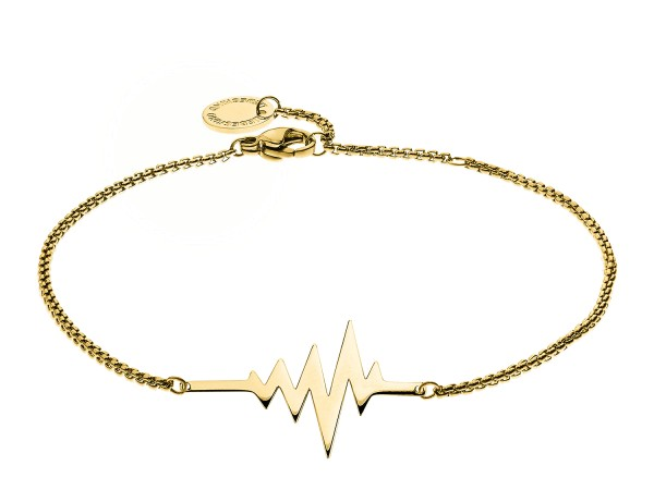 LJ-0156-B-20, Heartbeat Bracelet, Edelstahl, 20 cm, IP Gold