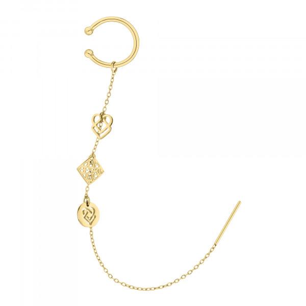 LJ-0768-E-11, LIEBESKIND BERLIN Ear cuff mit Charms Edelstahl, IP Gold, 110 mm